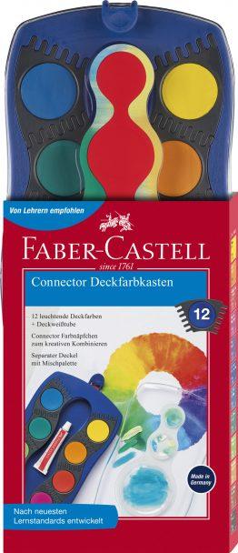CONNECTOR Farbkasten blau 12 Farben, inkl. Deckweiß