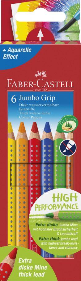 Farbstift Jumbo GRIP, 6 Farben sortiert im Kartonetui.
