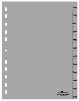 Register, PP, Jan. - Dez., grau, DIN A4, 215/230 x 297 mm, 12 Blatt